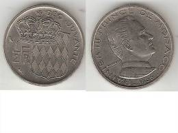 *monaco 1/2 Franc    1965  Km 145   Xf+!! - 1960-2001 Nouveaux Francs
