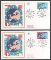 Timbre De Service N° 106 à 107  Avec Très Belle Oblitération Du Conseil De L'Europe Sur Lettres  TTB - Usados
