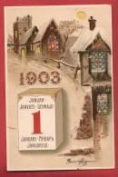 Q0391 Bonne Année 1er Janvier 1903, Maisons Sous La Neige. Précurseur. Cachet 1903. - New Year