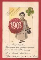 Q0398 Bonne Année,1903 Jeune Homme En Haut De Forme,trèfle à Quatre Et Fer à Cheval,Précurseur,cachet 1902 - New Year