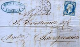 13  MARSEILLE  Lettre Pour Sarreguemines  19/12/57 - 1849-1876: Période Classique