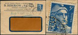 FRANCE 1948 - YT N°719B MARIANNE DE DULAC - PERFORÉ ** B.B ** SUR LETTRE FIRME ** BIBERON & FILS ** - Francia