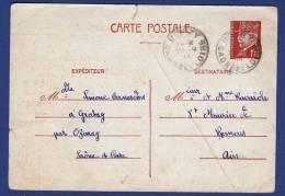 Entiers Postaux  Carte Type  De Ozenay En 1944 - Postwaardestukken