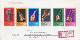 DV 751) Reco -Brief DDR GDR MiNr 1708-13: Musik Instrumente Museum Markneukirchen, Old Instruments - Music