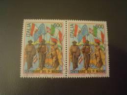 ITALIA REPUBBLICA  - COPPIA USATO  - 1990 - CENTENARIO DEL 1° MAGGIO - £ 600 - S. 1933 - 6. 1946-.. Repubblica
