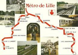 CPSM De LILLE (59000) : Le Métro De Lille - Parcour + 7 Vues. - Lille