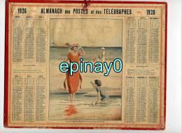 CALENDRIER - ALMANACH DES POSTES ET DES TELEGRAPHES 1926 - Plage De SABLE D´OR LES PINS - - Grand Format : 1921-40