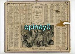 CALENDRIER - ALMANACH DES POSTES ET DES TELEGRAPHES 1879 - Chez Le Barbier Du Village - Barbe - Coiffeur - Coiffure - Calendars