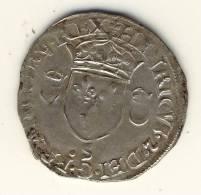 DOUZAIN AUX CROISSANT  -  HENRI  II  -  1554  -  Atelier De TROYES  -  25 Mm.  -  2,6 Gr. - 1547-1559 Henri II