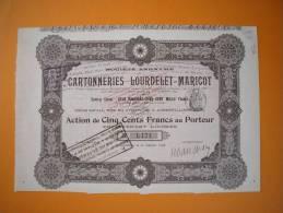 Action - Europe - France - Cartonneries Lourdelet-maricot  - Aubervilliers 1898 - Action De 500 Frs - Industrie