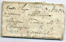 """AIN - CERDON, MANUSCRIT DE 1699, POUR MONTLUEL, AVEC MENTION """" ROUTE DE LYON A GENEVE """" - TB ET RARE - 1849-1876: Période Classique"""