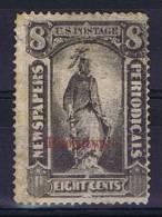 USA, Newspaper Stamp Nr  Mi 10- Sc Pr 61?, Surcharge Phototypie In Red - Dagbladzegels