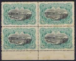 Belgium Congo 1894, OBP 18, Sheetmargin Of 4, Some Stains - Belgisch-Kongo