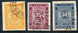 BULGARIA 1885  Postage Due Imperforate Set Of 3, Fine Used    Michel 4-6Ab - Postage Due