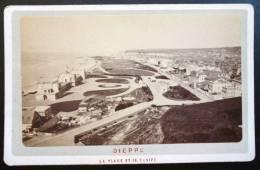 PHOTO CDV XIXeme : DIEPPE LA PLAGE ET LE CASINO 76 - Photographs