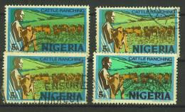 VEND TIMBRES DU NIGERIA N° 284 (B) X 4 NUANCES DIFFERENTES !!!! (c) - Nigeria (1961-...)