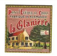 Ancienne Etiquette Fromage  Pont Leveque  45%mg  La Glaniere Edmond Cercet Louvieres En Auge - Fromage