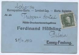 BOSNIA And HERZEGOVINA - AUSTRIA, K.u.K. Militar Post, BILECA, 1914. Truppen Spital - Bosnien-Herzegowina