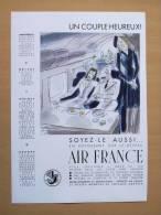Pub Papier 1946 Tourisme Voyage Compagnie Aerienne Avion Aviation AIR FRANCE Dessin Couple Heureux - Pubblicitari