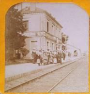 RARE PHOTO STEREO : SAINT-CHERON LA PATRONNAGE DU 26 AOUT 1903 DEPART DE LA GARE POUR LE HÂVRE LE 3 AOUT 1903 ESSONNE 91 - Stereoscopio
