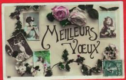CPA Meilleurs Voeux Photographies Roses Houx Timbre 5 Centimes Oblitération 30 Décembre 1910 Dijon - New Year
