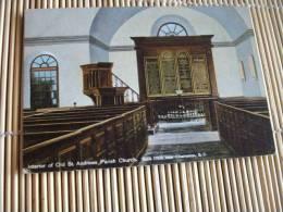 INTERIOR ANDREWS PARISH CHURCH CHARLESTON  @  CPA  VUE RECTO/VERSO AVEC BORDS - Charleston