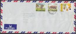 Zambia Airmail Par Avion MAHSA 1980 Cover Brief To Bank In Denmark Elephant Rhinoceros - Zambia (1965-...)