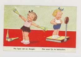 Illustrateur : Ma Ligne Est En Danger - Salle De Sport, Enfant, Balance *f0269 - Cartes Postales