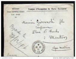 LAC DES TROUPES D´OCCUPATION DU MAROC OCCIDENTAL, REUNION DES OFFICIERS DE FEZ DU 28 11 16 POUR MENTON - Poststempel (Briefe)