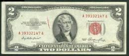 1953 , 2 DOLLARS U.S. NOTE , RED SEAL , VF - Billetes De Estados Unidos (1928-1953)