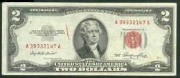 1953 , 2 DOLLARS U.S. NOTE , RED SEAL , VF - Biglietti Degli Stati Uniti (1928-1953)