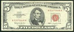 1963 , 5 DOLLARS U.S. NOTE , RED SEAL , VF - Billetes De Estados Unidos (1928-1953)