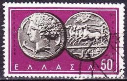 GREECE 1959 Ancient Greek Coins I 50 L Purpur Vl. 764 - Gebruikt