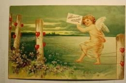 Carte En Relief, Angelot (2)  Chromo Bonne Année - New Year