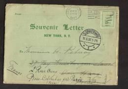 Souvenir Letter New York 1907pour Paris Bois Colombes - Maps