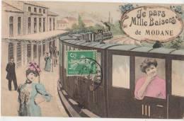 CPA 73 MODANE Souvenir Fantaisie Gare Train Femme Mille Baisers Carte Colorisée 1909 - Modane