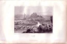 Le Puy-en-Vélay.  Gravure Originale Sur Acier De Rouargue. 1848 - Estampes & Gravures