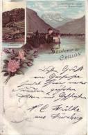 Gruß Aus Chillon, - Litho - Chateau Chillon , Territet  - Glion Le Funigulaire; Mit 4 Ld.Kt.Nr. 91  - 10 Zinnober - VD Waadt