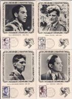 5 CARTES 1°jour Des Héros De La Résistance. 1957.(Jean MOULIN) - Cartas Máxima