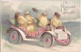 ¤¤  -  Carte Gauffrée   -  Heureuses Pâques  -  Poussins , Poule , Coq  -  Fleurs , Voiture   -  ¤¤ - Pâques