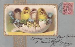 ¤¤  -  Carte Gauffrée   -  Heureuses Pâques  -  Poussins , Poule , Coq  -  Fleurs , Muguet   -  ¤¤ - Pâques