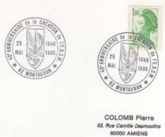 OBLITERATION COMMEMORATIVE 40 ANS CREATION ERGM MONTAUBAN (TARN ET GARONNE ) 1986 - Militaria