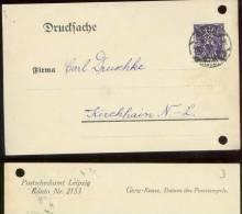 17661 DR Infla Firmenkarte Halpert & Co. Perfin Lochung H&C Gera - Kirchhain 1923 , Bedarfsgebraucht , Registrat - Covers & Documents