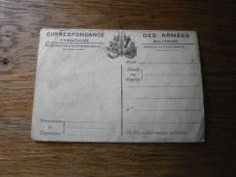 MILITARIA CORRESPONDANCE DES ARMES RECTO VERSO - Tarjetas De Franquicia Militare