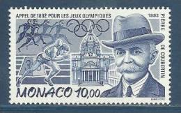 MONACO , 10 F  , Appel De 1892 Pour Les Jeux Olympiques , Pierre De Coubertin  , 1992 , N° YT 1853 , NEUF ** - Neufs