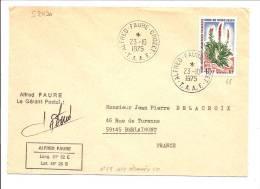 RARE TAAF N°48 TÀD ALFRED FAURE CROZET 1975 LETTRE AVEC 2 GRIFFES A. FAURE - Terres Australes Et Antarctiques Françaises (TAAF)