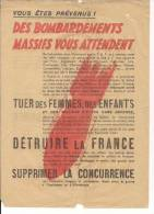 Bombardements 2eme Guerre Mondiale Affichette Vichy Collaboration Anti Anglaise Et Us WWII Ww2 2wk 39-45 1939-1945 - 1939-45