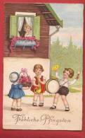 Q0431 Pentecote, Frohliche Pfingsten, Enfants Avec Clarinette Et Tambour. CAchet 1934 - Pentecôte