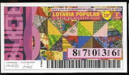 Loterie Populaire PORTUGAL 07-05-1996 Manteau Artisanat Loteria Lottery Handicraft - Billets De Loterie