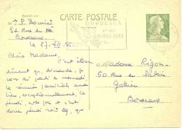 REF LACHMULL - MULLER 12f  CP  CARTON JAUNE VOYAGEE BORDEAUX POUR VILLE 27/12/1956 PUB VINS - Postal Stamped Stationery